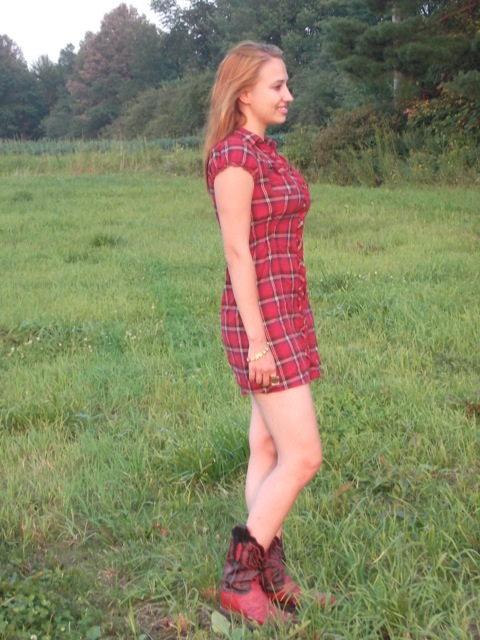 Plaid Dress and Boots