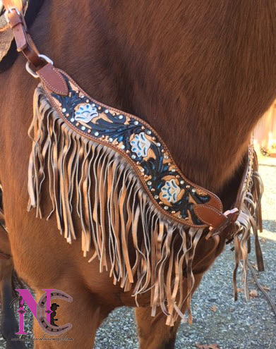 hand painted breastcollar with fringe